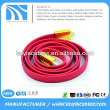 Hochwertiges Gold überzogenes 3m rotes flaches Nudel-HDMI Kabel MÄNNLICHES MÄNNLICHES Kabel 1.4v 1080p Ethernet 3D
