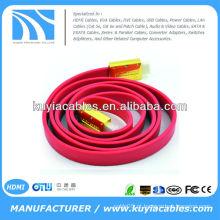 Ouro de alta qualidade chapeado o cabo plano vermelho do macarronete de 3m MACHO AO MACHO Cabo 1.4v 1080p Ethernet 3D