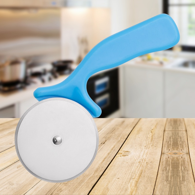 Blue Plastic Handle Stainless Steel Pizza Cutter Wheel