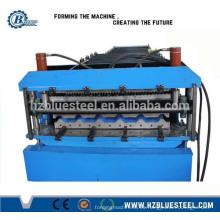 Hoja de hierro Chapa corrugada doble Teja de techo Fabricante Línea de producción de la máquina / Self Lock