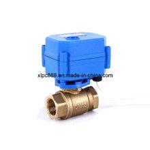 Robinet à tournant sphérique motorisé en laiton de la manière 2 d'usine pour le système de contrôle de l'eau