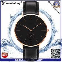 Yxl-264 reloj de los hombres de moda de diseño simple estilo de cuarzo de las señoras de cuero genuino reloj de pulsera de las mujeres relojes personalizados