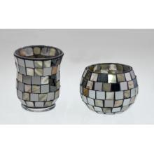 Novo Design Glass Mosaic Candle Holder para o Natal