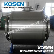 Válvulas de esfera de aço forjado Flange Trunnion com caixa de engrenagens