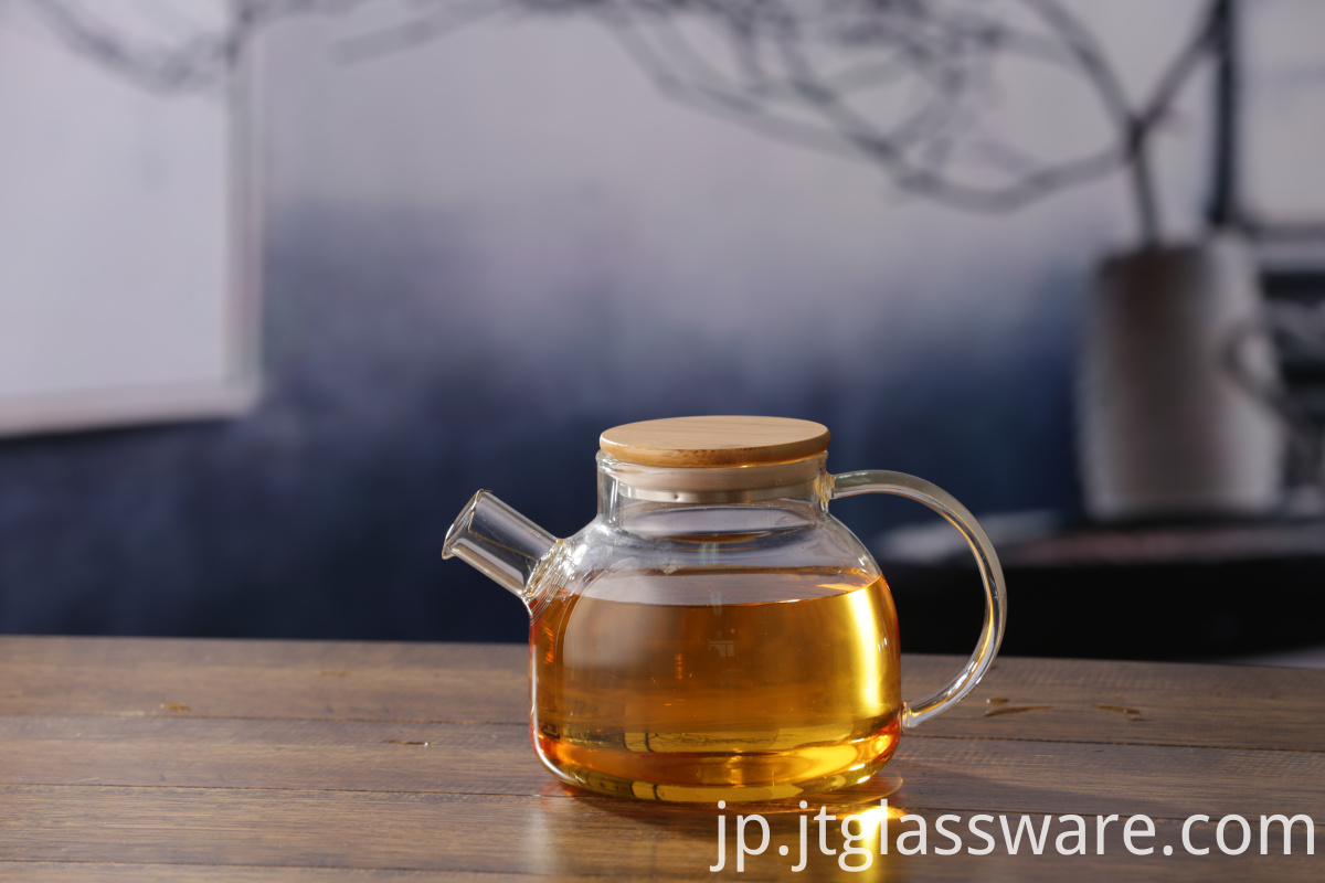 Flower Teapot With Bamboo Lid