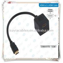HDMI macho al cable del adaptador del divisor femenino 2HDMI