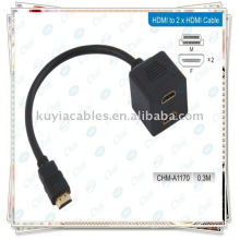 HDMI Male To 2HDMI Female Splitter Adapter Cable