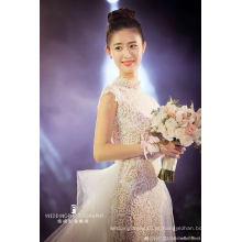 Vestido de noiva nupcial de noite de sereia de cristal de laço colarinho alto