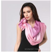 Lingshang printemps et été mince cape classique dégradé couleur écharpe soie longue conception