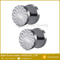 316L Surgical Steel Lotus Pattern Screw Cut Fake Plug Stud Earrings