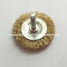 """2 """"latón de acero revestido de rueda de alambre con eje (YY-387)"""