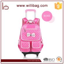 Mode Rolling Polyester Kinder Trolley Schultasche mit Rädern