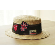 Moda de Verão Custom Union Jack Flag bordado Straw Chapéus Bowler China Factory