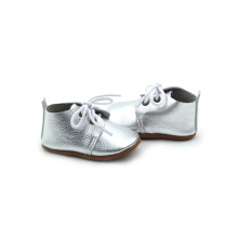 Atacado Oxford Shoes Sliver Leather Sapatos de Bebê