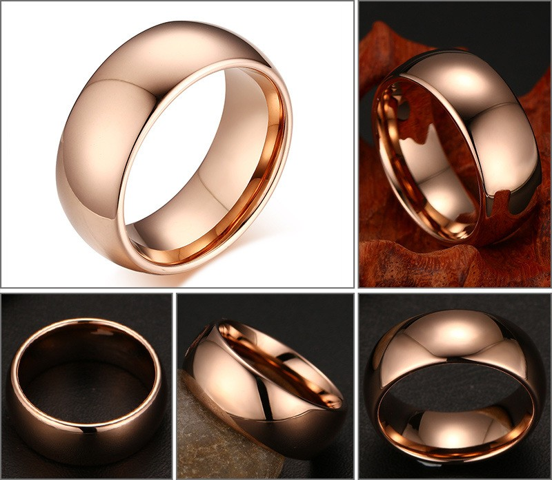rose gold plated tungsten ring