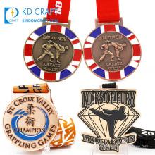 Custom made taekwondo judo sports competition medals enamel customised metal award jiu-jitsu jiu jitsu medal karate with box