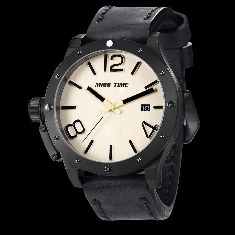 chinese mechine leather mens wrist watch