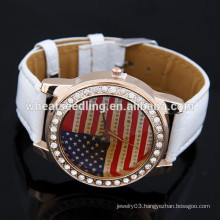 America fashion ladies wear a flag all-match leisure leather watch
