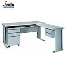 Bureau moderne utilisé l-en forme de bureau bureau cadre en acier table d'ordinateur table d'ordinateur design