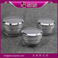 Alibaba China fanshion plastic round cream container with lid, 30ml 50ml silver luxury empty cosmetic acrylic sale jar for cream