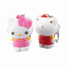 Kitty cat LED flashlight keychain, made of plastic (ABS)
