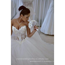 Dernières robes Alibaba Elegant Pearls White Ball Gown Ruffle Robes de mariée Vestidos de Novia 2016 LW257