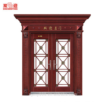 Luxury Hotel main entry wrought iron steel metal door with Roman column steel carved