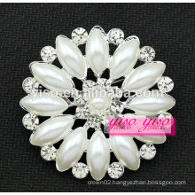 beautiful large round flower crystal pearl brooch