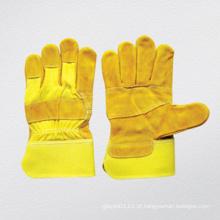 Lado de vaca amarelo remendado luva de trabalho de palma (3059)