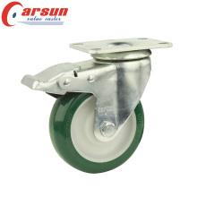 5inches Medium Duty Swivel Зеленый PU колесо заклинателя с общим тормозом