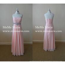 Melhor vestido de vestido sem mangas Prom Gown Ankle Length vestido de dama de honra com strass BYE-14048