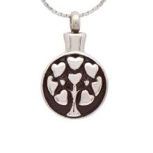 Colgante de cenizas de cremación de corazón de plata, medallón de esmalte que contiene cenizas