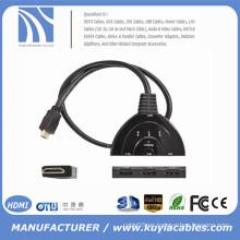 ¡Alta calidad! El eje AUTOMÁTICO del divisor del interruptor de 3 puertos 1080P 3D HDMI HDMI con el cable libera el envío