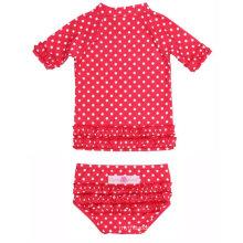 Petites filles Polka DOT Ruffled Rash Guard Bikini enfants maillots de bain