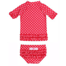 Little Girls Polka DOT Ruffled Rash Guard Bikini Children Swimwear