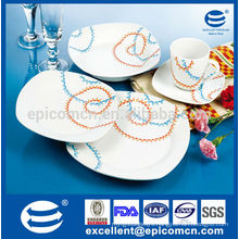 2015 wholesale Asian style dinnerware, blue and orange ceramic square dinnerware set, restaurant porcelain dinnerware