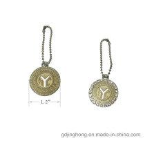 Luxus Logo Kundenspezifischer Metall Namensschild mit Diamant