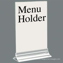 Free Standing Acrylic Menu Display, Clear Acrylic Menu Holder