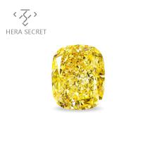 ForeverFlame fancy yellow cushion cut diamond CVD CZ Moissanite