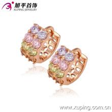 La más nueva moda encantadora CZ Crystal Rose joyería chapada en oro ronda aro pendiente - 29234