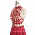 2017 ins hot vender sexy ver através da cor vermelha pesado frisado vestido de noite guangzhou