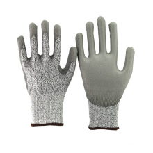 NMSAFETY 13 gauge nylon and HPPE liner coated pu cut resistant gloves
