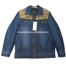 2016 wholesale without hooded zipper denim jacket with collar