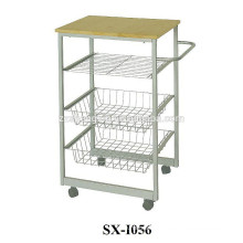 Three Layers Removable Stainless Steel Serving Cart with Wheels
