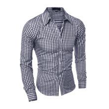 Fashion Men Clothes Slim Fit Plaid Cotton Casual Social Shirt