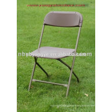 brown metal frame folding plastic chair