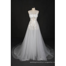 Sexy A Line Beading vestido de noiva de renda de praia vestido de noiva