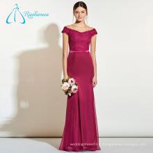 Design spécial en mousseline de soie à encolure en dentelle Robes de demoiselle d'honneur Mariage