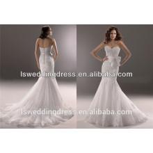 WD2365 saia de sereia sem costas arco sem mangas sem molas frente de renda francesa adornada organza branco cor bead vestidos de noiva de renda