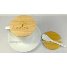 Taza de café de cerámica con cuchara, placa y cubierta de bambú para BS140122B